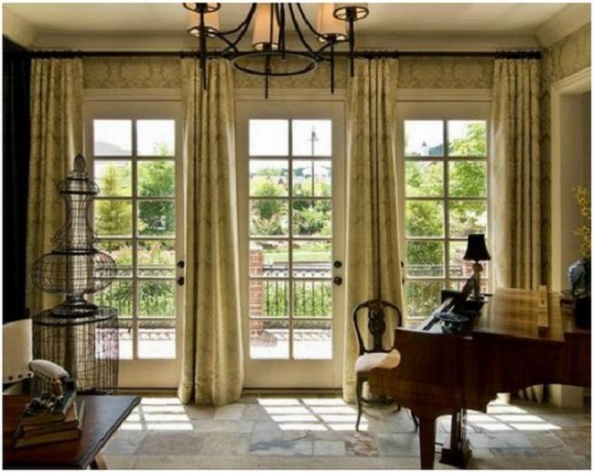 Compact Creative and Innovative Patio Door Window Treatment Ideas: French Door  Window Treatment window treatments for french doors to a patio