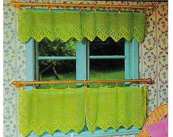 Compact Digital Download Vintage Crochet Cottage Curtains Pattern - Shabby or  Country Crochet crochet cafe curtains