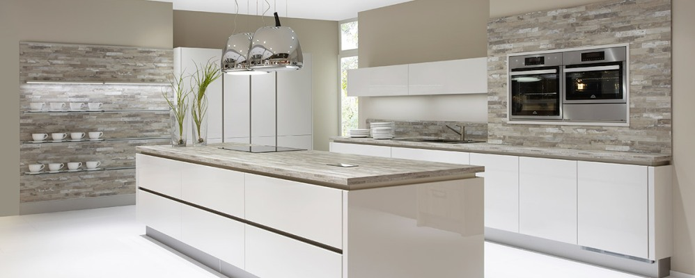 Compact German grey gloss handleless kitchen german handleless kitchens