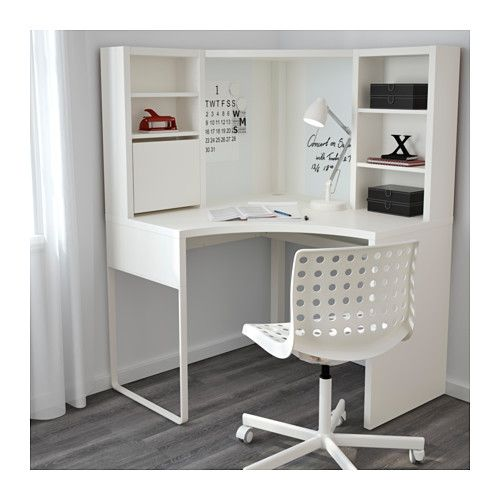 Compact Green Room - MICKE Corner workstation - white - IKEA corner desk with shelves