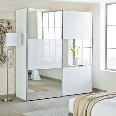 Compact Loft two door sliding wardrobe white glass with mirror white mirrored wardrobe