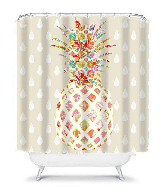 Compact Pineapple bathroom decor, unique shower curtain, pineapple shower curtain, cool  shower unique shower curtains
