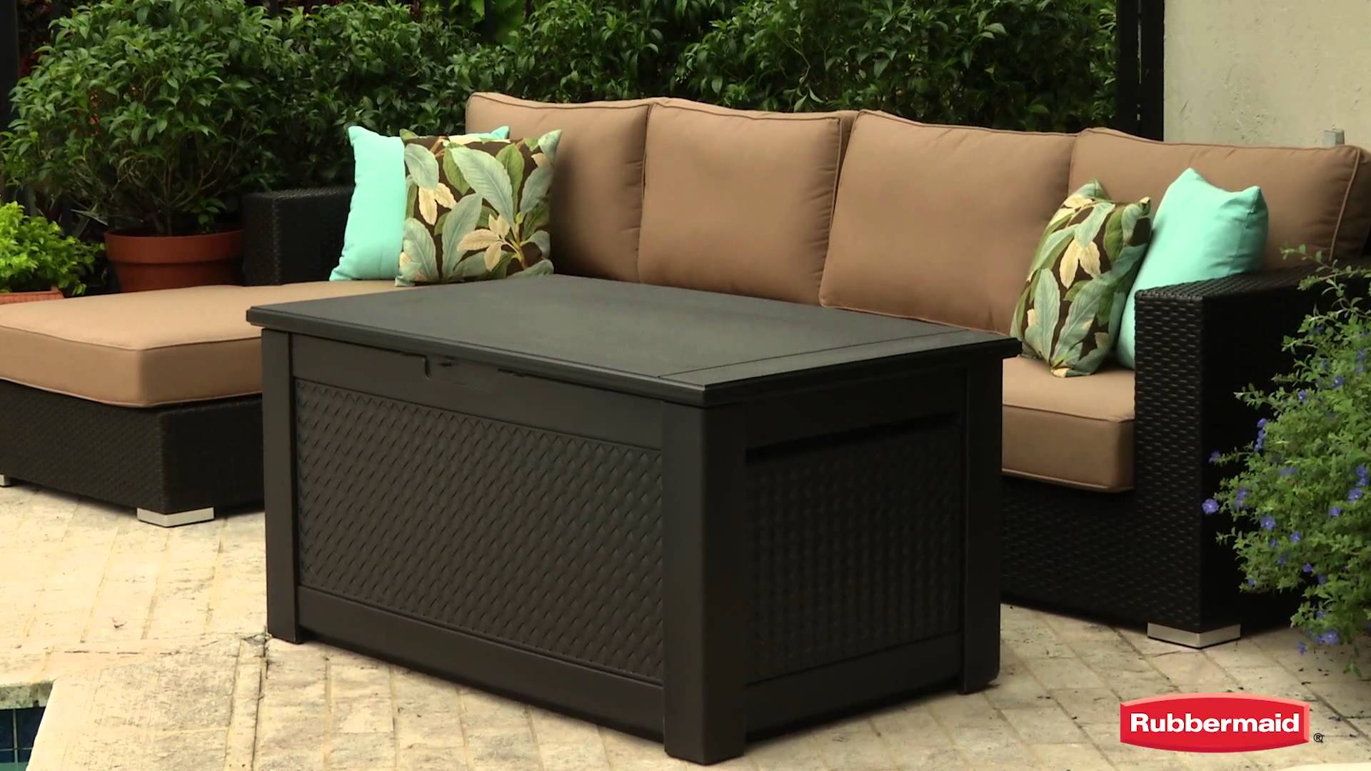 Compact Rubbermaid Patio Chic Storage Bench rubbermaid patio storage bench