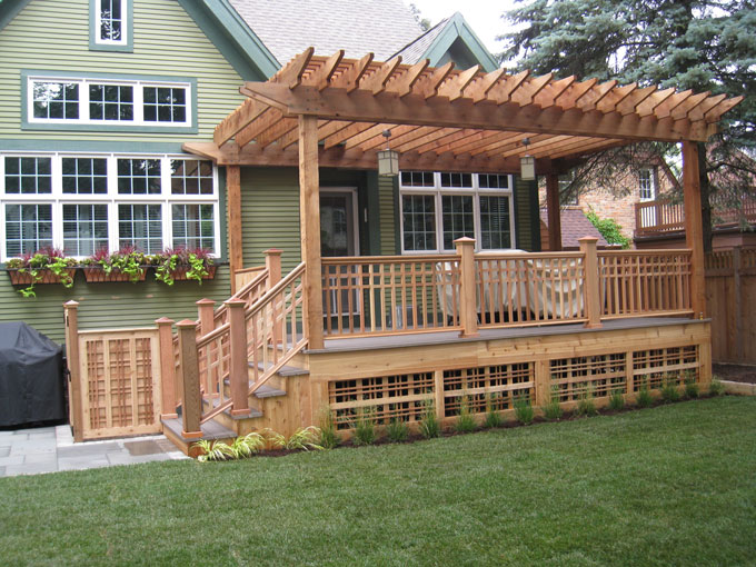 Compact This same yard, which holds a putting green, a playground, u0026 a pergola designs for decks