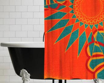 Compact West Indies Boho Modern Shower Curtain - Orange Bohemian Bathroom Decor | cool shower curtains