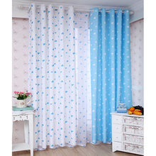 Compact White And Baby Blue Heart Patterned Best Chic Nursery Kids Curtains baby blue nursery curtains