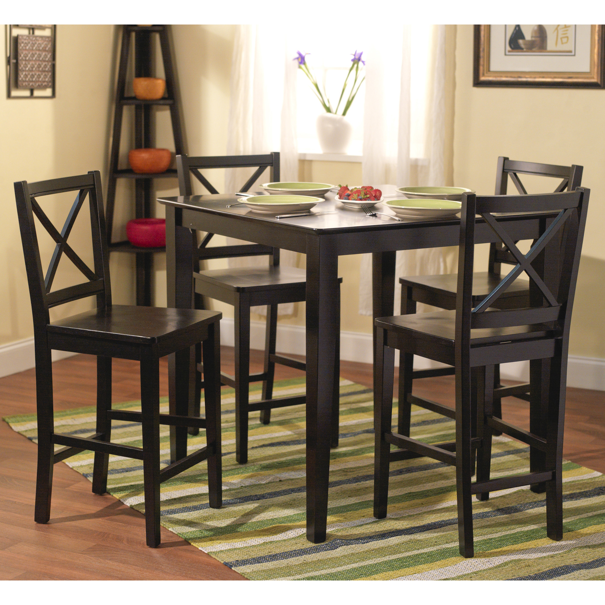 Compact Worthington 5 Piece Counter Height Dining Set tall dining room table and chairs