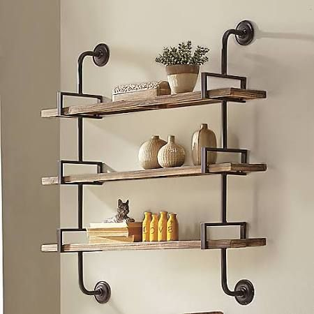 Compact wrought iron wall mounted shelves - Google Search wall mounted shelving