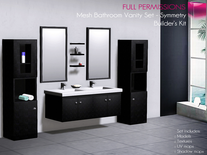 Cute Classic Bathroom with Black Finished Bathroom Vanity Set, and Stylish  Design bathroom complete bathroom vanity sets