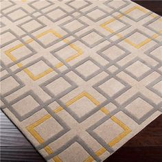 Contemporary Beige Gray and Yellow Geometric Simplicity Hand-Tufted Rug yellow grey area rug