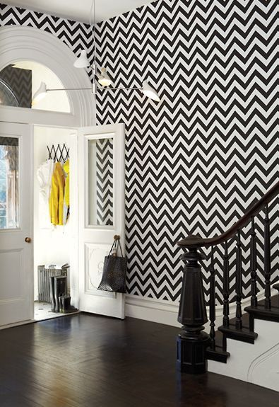 Contemporary Black and white zig zag wallpaper. Love this. Needs some more bright black and white wallpaper designs for bedrooms