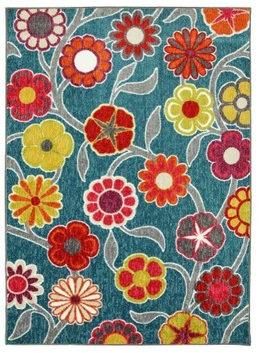 Contemporary Country u0026 Floral Flower Medallions 5u0027x7u0027 Rectangle Teal-Pink  Area Rug area pink floral area rug