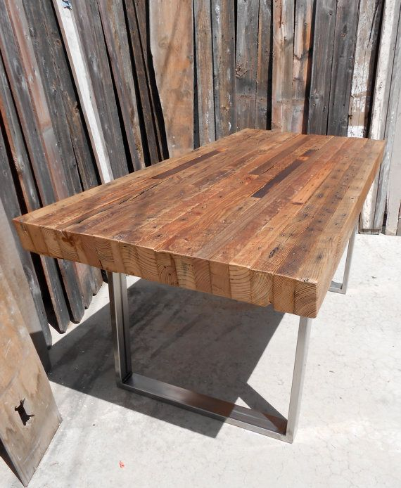 Contemporary Custom Outdoor/ Indoor Exposed Edge Rustic Industrial Reclaimed Wood Dining  Table reclaimed wood dining table for sale