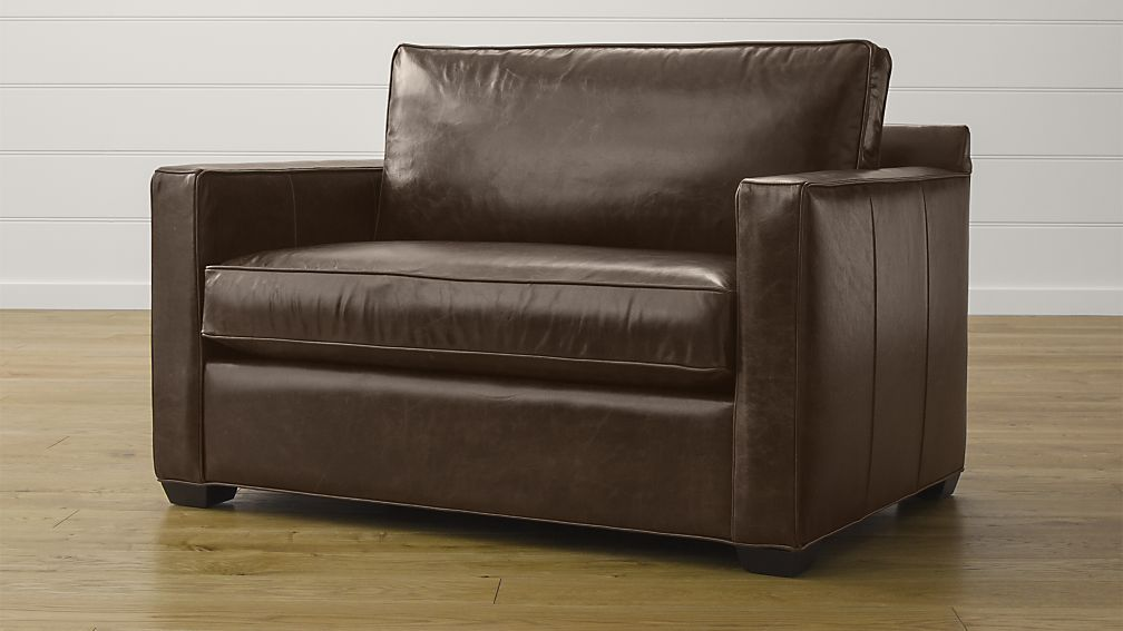 Contemporary Davis Leather Twin Sleeper Sofa ... twin sleeper sofa chair