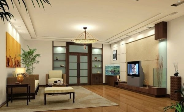 Contemporary decorative LED lights: living room with ceiling spotlights and chandelier - ceiling lights for living room