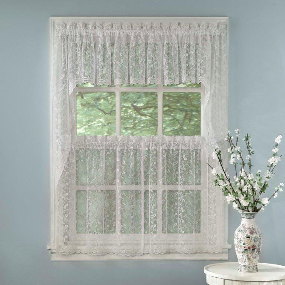 Contemporary Elegant White Priscilla Lace Kitchen Curtains - Tiers, Tailored Valance or  Swag priscilla kitchen curtains