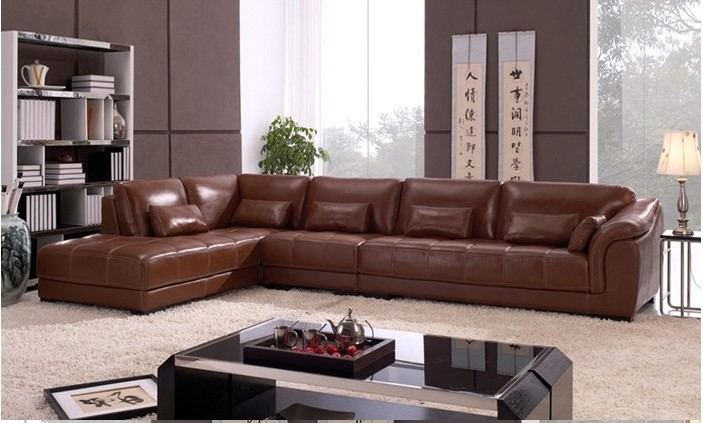 Contemporary Free Shipping living room sectional leather Corner sofa, classic L shaped  European sofa set l shape design