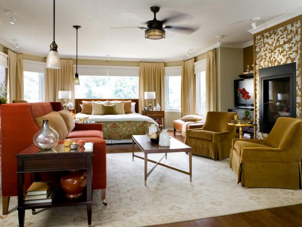 Contemporary Gold Master Bedroom With Pendant Lighting good color schemes for bedrooms
