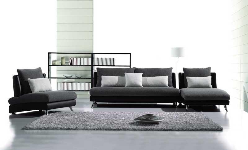 Elegant Contemporary Fabric-Leather Sofa Set AE contemporary leather sofa sets