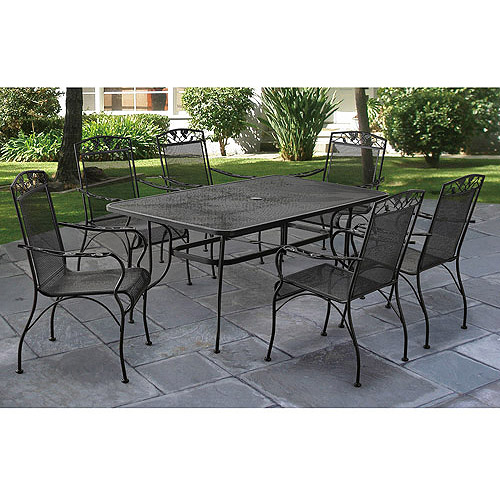 Contemporary Mainstays Jefferson Wrought Iron 7-Piece Patio Dining Set, Seats 6 wrought iron patio table