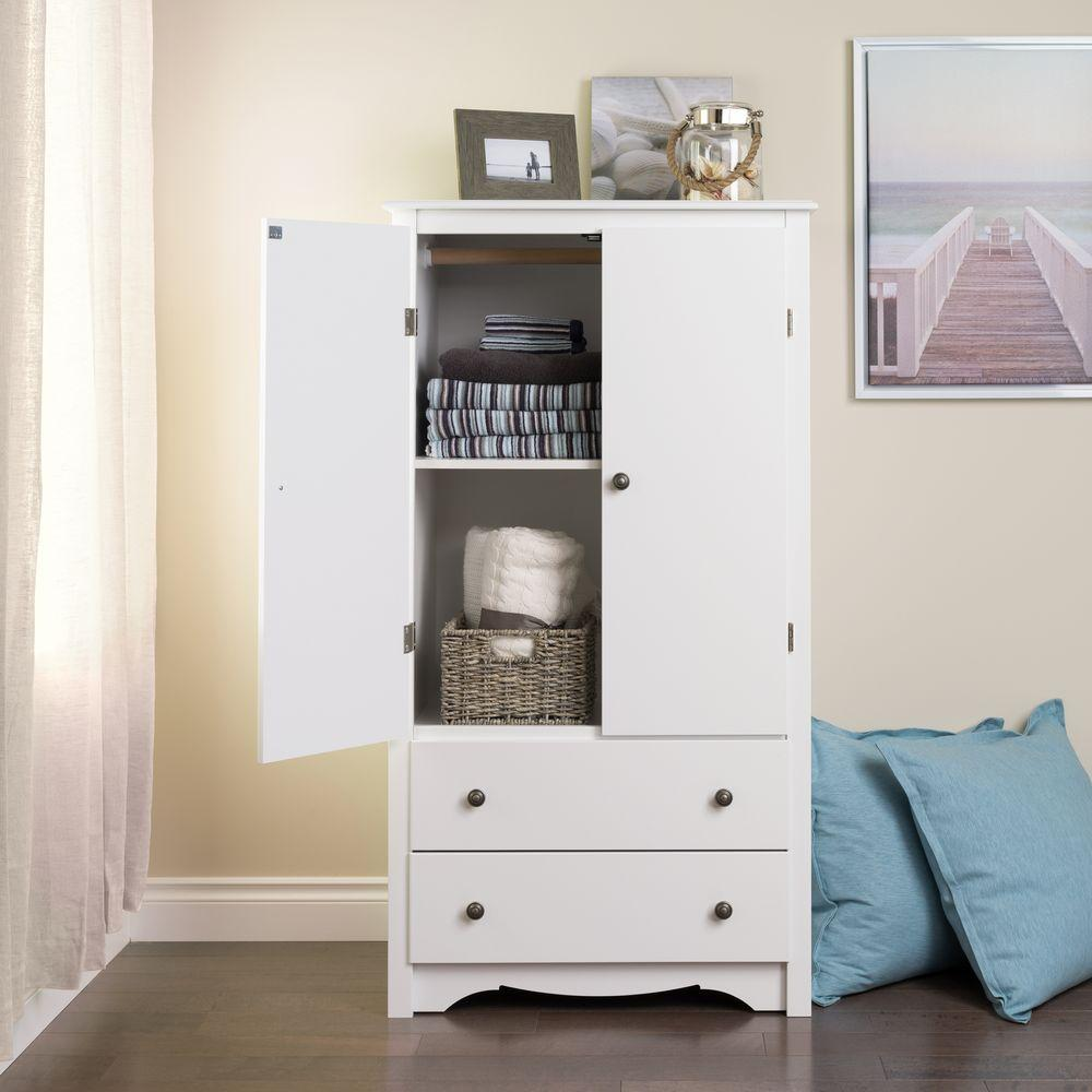 Contemporary Monterey 2-Drawer Armoire in White white armoire with drawers