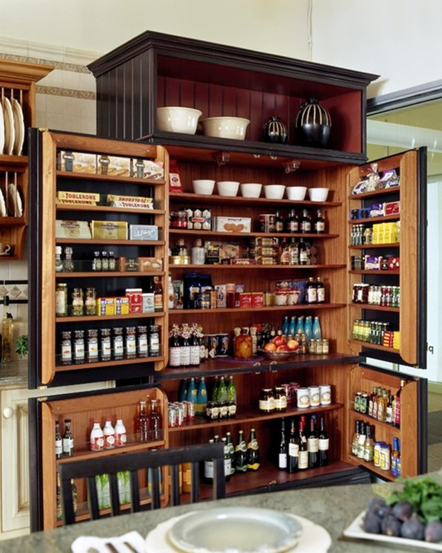 Contemporary Multi-functional Kitchen Pantry Storage in an Elegant Black Armoire kitchen pantries for storage