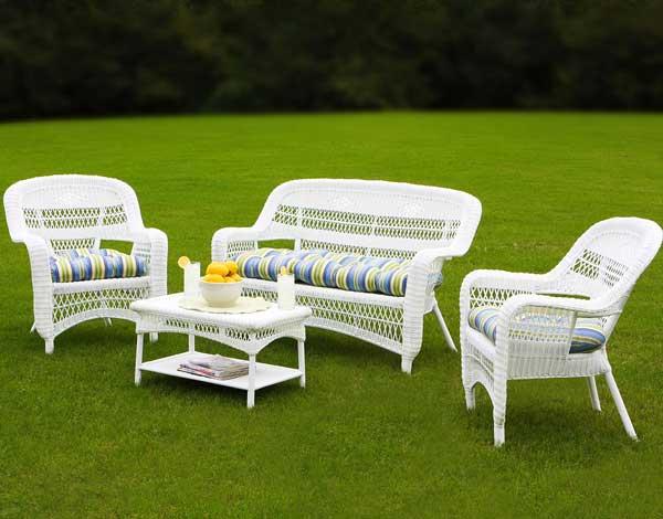 Contemporary Portside White Wicker Sofa Set white wicker furniture