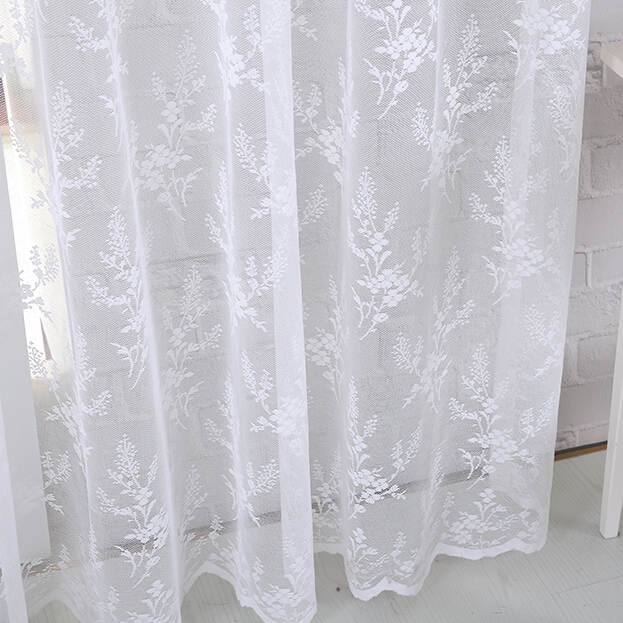Contemporary Romantic White Floral Patterned Yarn Lace Curtains white lace curtains