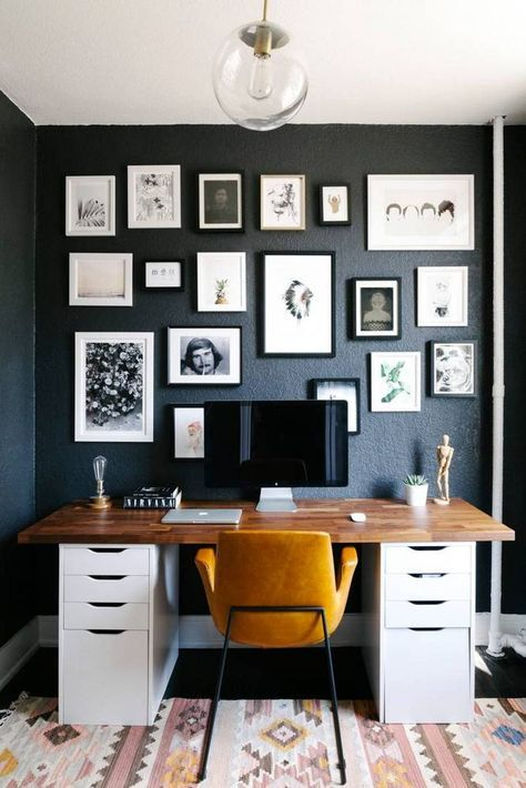 Contemporary small space design home office with black walls interior design home office