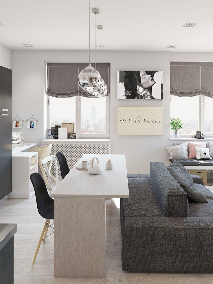 Contemporary Studio Apartment Interior Design With Cute Decorating Ideas small apartment interior design