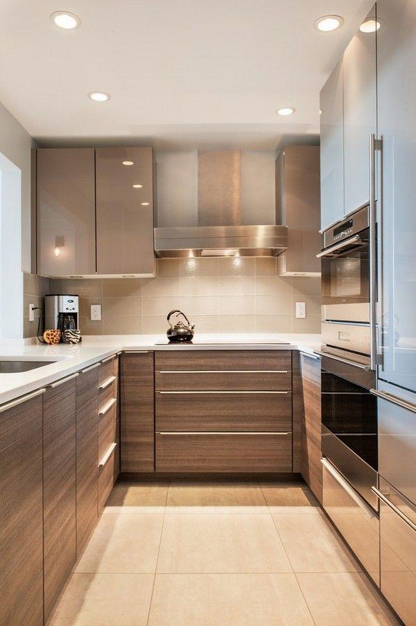 Contemporary U shaped kitchen design ideas small kitchen design modern cabinets recessed small modern kitchen ideas