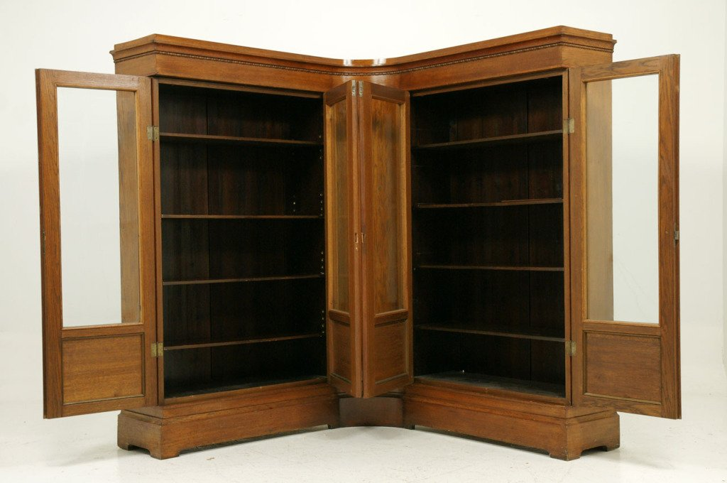 Contemporary Unusual Antique Oak Corner Bookcase 3 oak corner bookcase