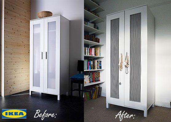 Contemporary Upcycling an Ikea Aneboda Wardrobe with DIY fabric doors - tutorial on the ikea aneboda wardrobe extra shelf