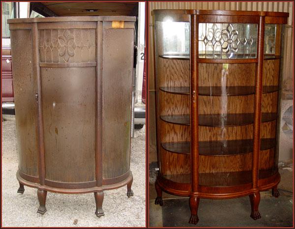 Cool Burned Oak China Cabinet refinishing antique furniture