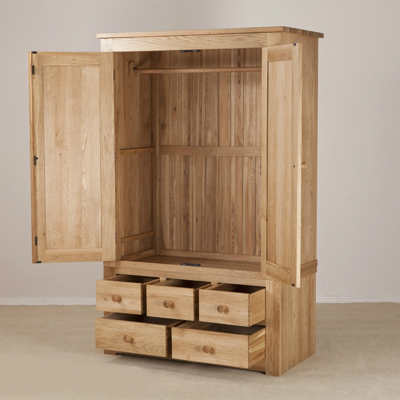 Cool Clifton Oak Wardrobe With Drawers from Quarter Furniture - 2 wooden wardrobe with drawers