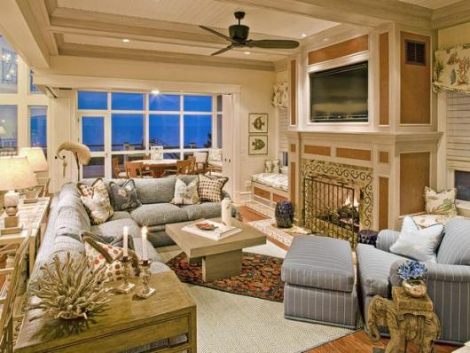Cool coastal living room decorating ideas | coastal fireplace living room |  Cavanaugh elegant coastal living rooms