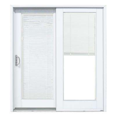 Cool Composite White Left-Hand Smooth Interior with Blinds sliding patio door blinds