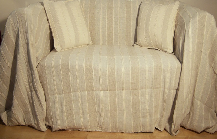 Cool Coton Cream/Oatmeal Striped Extra Large 3 or 4 Seater Throw cms and 3 seater sofa throws