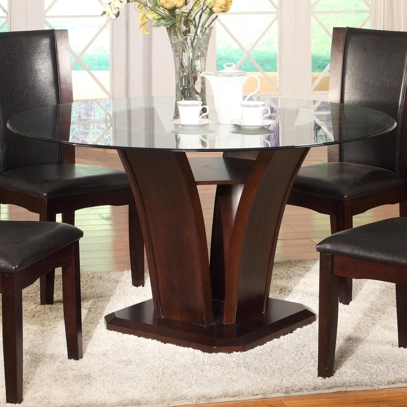 Cool Crown Mark Camelia Round Glass Top Dining Table with Inverted Base round glass top dining table