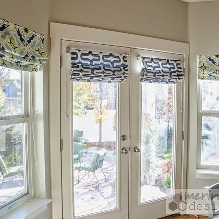 Cool DIY Roman Shades for French doors with instructions for mounting w/o  drilling window treatments for french doors in bedroom