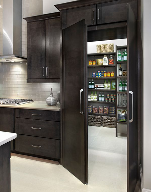 Cool Doors that match the cabinetry. pantry cabinets with doors
