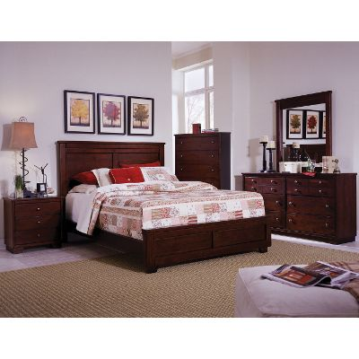 Cool Espresso Brown Contemporary 6-Piece Full Bedroom Set - Diego bedroom furniture sets