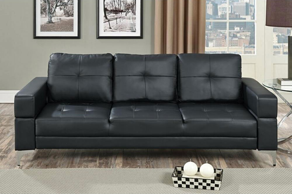 Cool Evin Modern Black Leather Sofa Bed black leather sofa bed