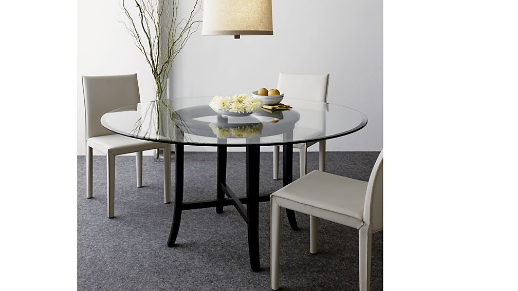 Cool Halo Ebony Round Dining Tables with Glass Top | Crate and Barrel round glass top dining table