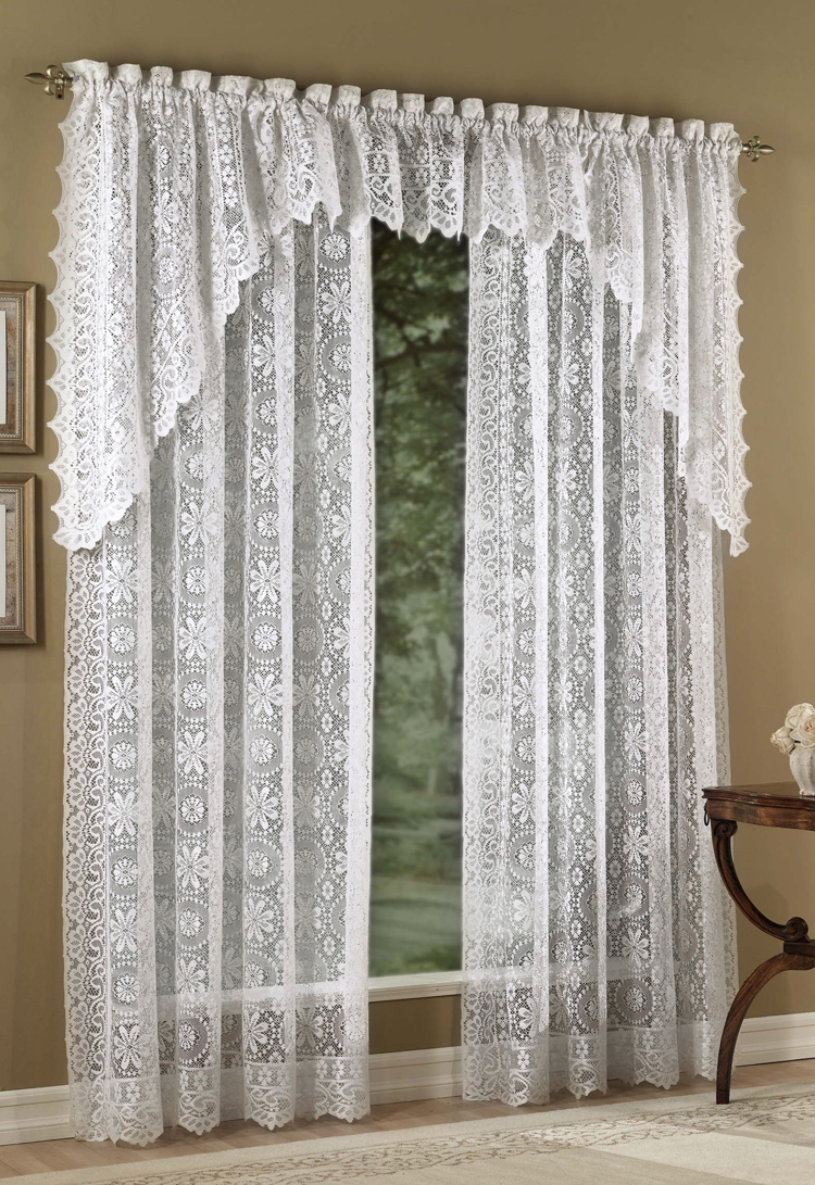Cool Hopewell Lace - White white lace curtains