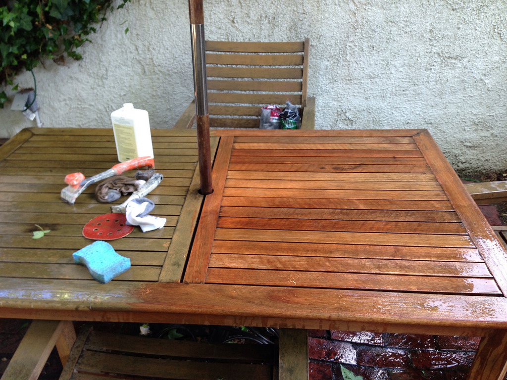 Cool I kept working my way around the table until I was able to finishing teak outdoor furniture