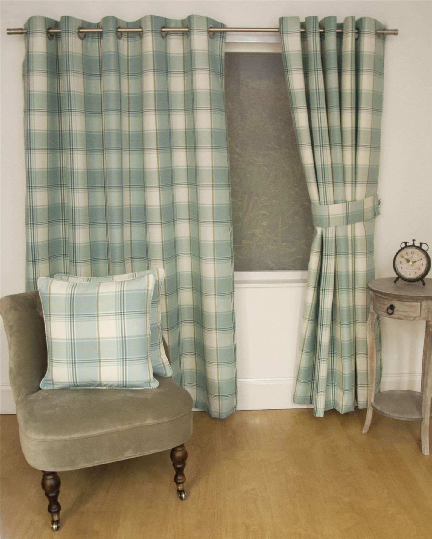 Cool JACQUARD-TARTAN-CHECK-DUCK-EGG-BLUE-LINED-RING- duck egg tartan curtains