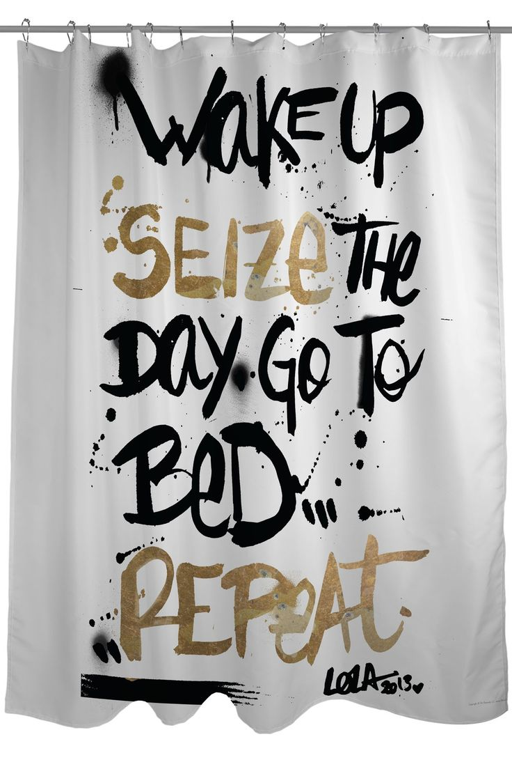 Cool Oliver Gal by One Bella Casa Seize the Day Black Gold Shower Curtain black and gold shower curtain