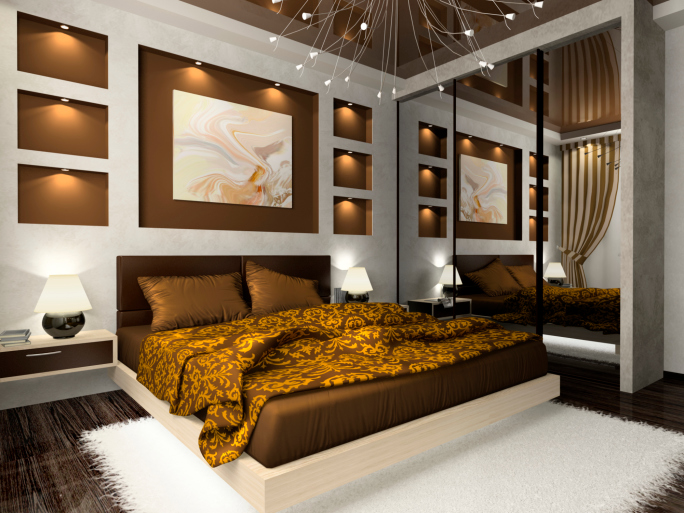 Cool Ornate master bedroom with brown, gold and white design with wall-mirror master bedroom interior design ideas