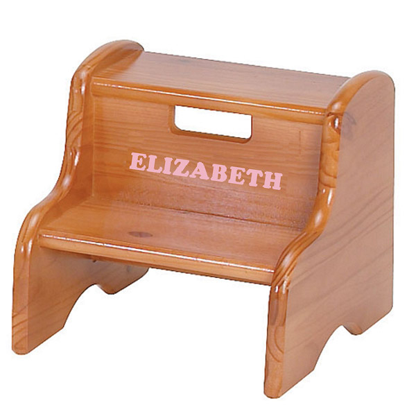 Cool Personalized Wood Step Stool - Honey Oak Stain personalized wooden stool